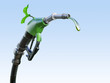 canvas print picture - Gas  or diesel pump nozzle with gasoline or biofuel drop and growing green sprout symbolising environmental friendliness, isolated. Ecological gas diesel biofuel concept. 3D illustration