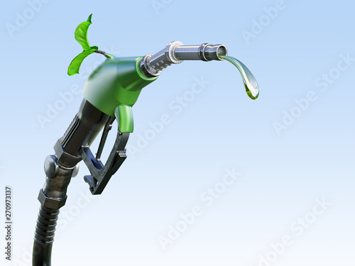 Gas  or diesel pump nozzle with gasoline or biofuel drop and growing green sprout symbolising environmental friendliness, isolated Canvas Print