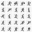 Running related icons set on background for graphic and web design. Simple illustration. Internet concept symbol for website button or mobile app.