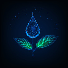 Futuristic Glowing Low Polygonal Plant Made Of Water Drop As A Flower And Green Leaves.