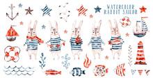 Watercolor Rabbit Sailor, Cartoon Seaman Set