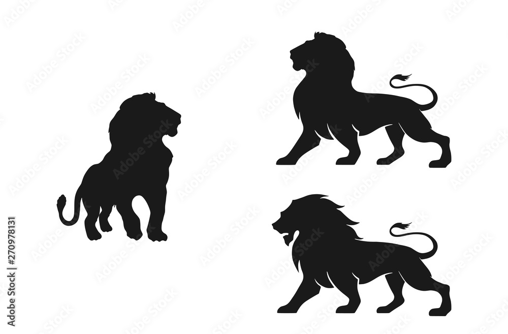 Fototapeta lion silhouette set. isolated vector image of african carnivore
