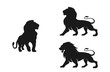 lion silhouette set. isolated vector image of african carnivore