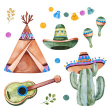 Colorful Set With Mexican Ethnic Elements:cactus,garland,sombrero,maracas,teepee,guitar And More.Perfect For Your Project,wedding,print,scrapbook,baby Shower,Birthday Card,invitations,greeting Card