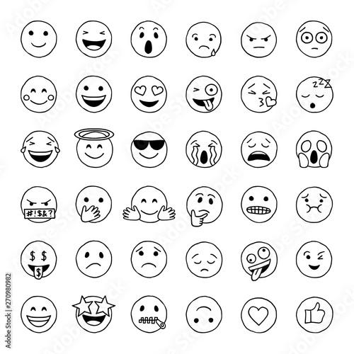 Hand drawn doodle emoji Wallpaper Mural