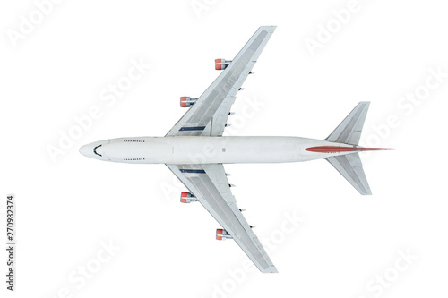 Aerial top view of Airplane isolated on white background with clipping part