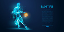 Abstract Basketball Player From Particles, Lines And Triangles On Blue Background. All Elements On A Separate Layers, Color Can Be Changed To Any Other. Low Poly Neon Wire Outline Geometric Vector