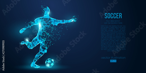 Fototapeta Abstract soccer player, footballer from particles on blue background