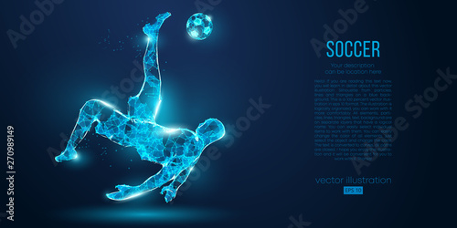 Fotografie, Obraz Abstract soccer player, footballer from particles on blue background