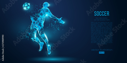 Canvas Abstract soccer player, footballer from particles on blue background