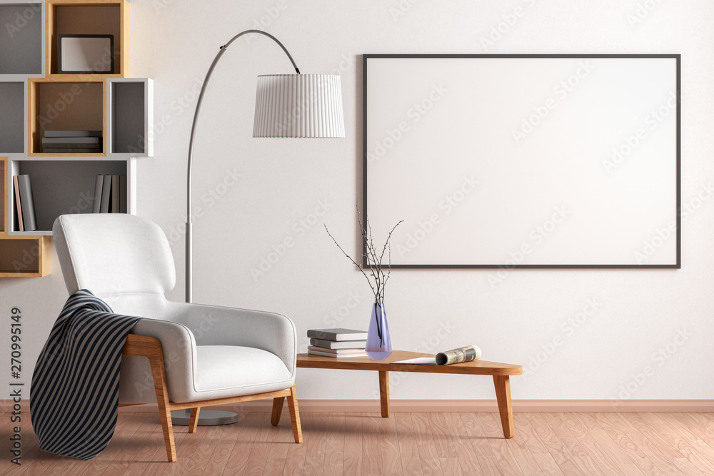 Fototapeta Blank poster mock up with black frame on the wall in living room interior