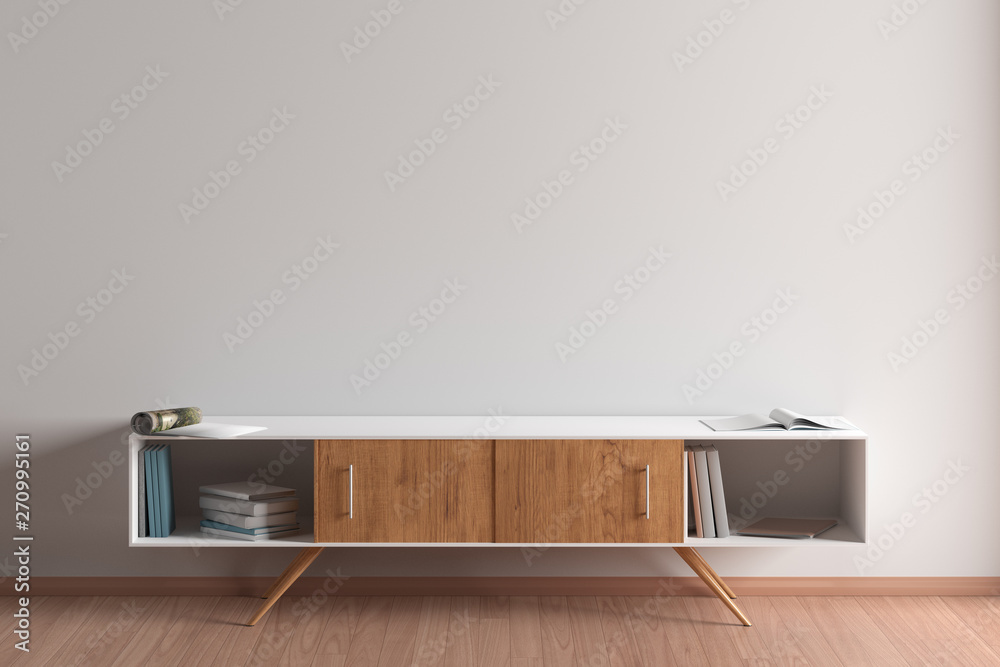 Fototapety, obrazy: Blank wall mock up in living room interior with cabinet