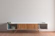 Leinwandbild Motiv Blank wall mock up in living room interior with cabinet