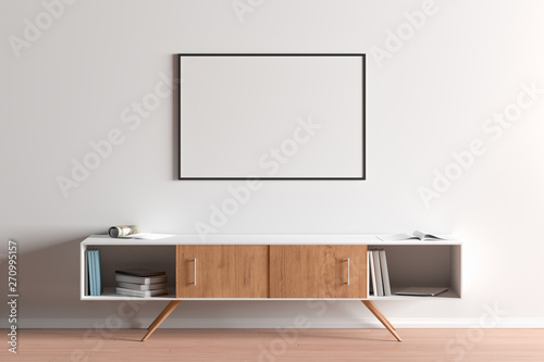 Fotografiet  Blank horizontal posters mock up with black frame