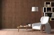 Leinwandbild Motiv Interior of living room with cozy white leather armchair with plaid