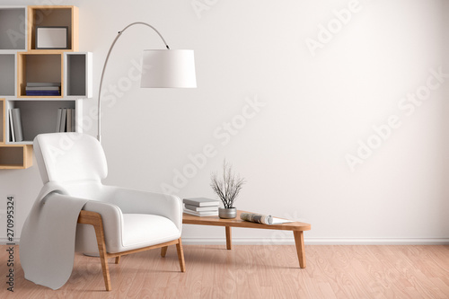 Photo Interior of living room with cozy white leather armchair with plaid