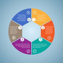 Business InfoGraphics, Six Pieces Circle Diagram, Hexagon, Step Presentation, Section Banner