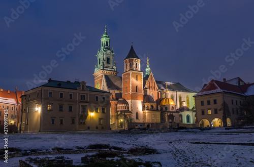 Wawel cathedral illuminated at winter night, Krakow, Poland