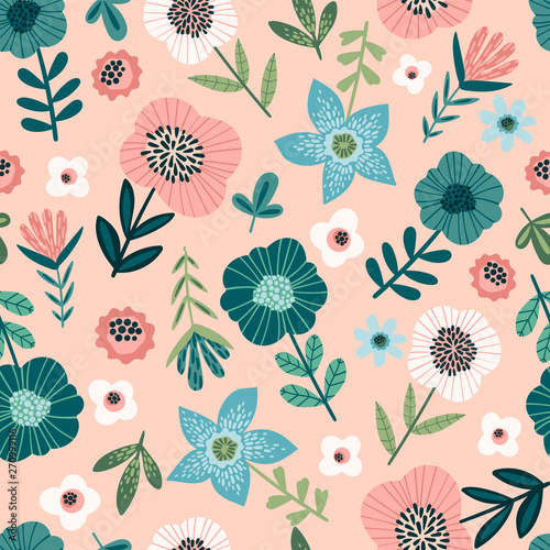 Fototapety, obrazy: Floral seamless pattern. Vector design for paper, cover, fabric, interior decor