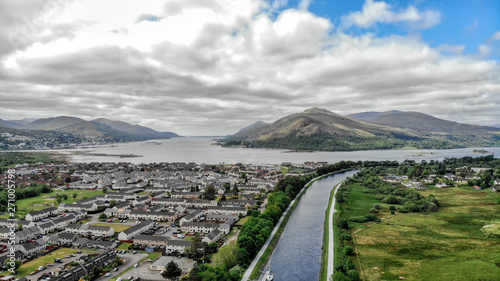 Fényképezés Neptune staircase locks, aerial view by drone at the Caledonian Canal, Banavie,