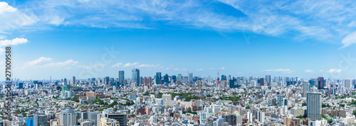 Fotobehang Tokio (東京都-風景パノラマ)高層ビルラウンジから望む青山側からお台場方面までの風景1