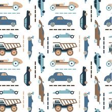 Car Pattern Flat Illustration Seamless Design