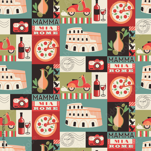 Rome city seamless decorative pattern design Canvas Print