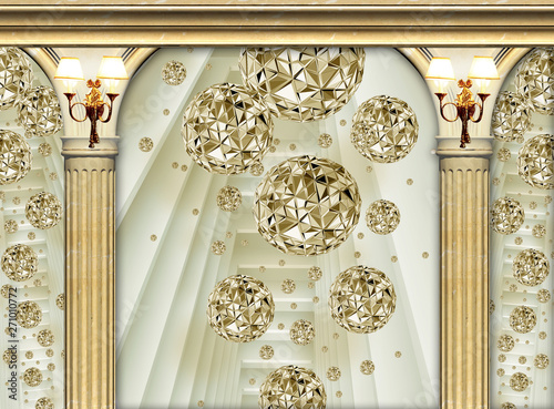 Tela interior of a palace 3d golden columns and flowers  with wall lamp wallpaper bac