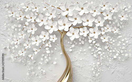 christmas tree decoration on gray white background with golden stem