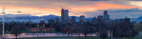 Denver skyline with colorful sunset and Mount Evans Canvas