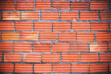 Orange Brick Wall With Gray Concrete Lines, Pattern For Background