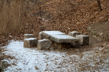Mutianyu China, Picnic Table With Snow In Parkland Near Great Wall Of China
