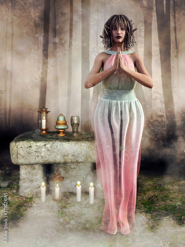 Fotografía Elf priestess standing in front of a fantasy altar with candles in the forest
