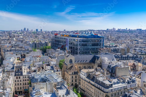 Photo sur Toile Paris Paris, panorama of the city, with the Pompidou center, and the Saint-Merri church