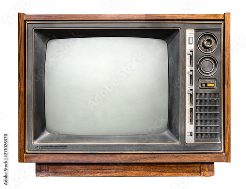 Vintage tv - antique wooden box television isolated on white with clipping path for object Wallpaper Mural