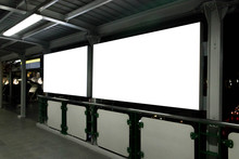 Two Blank Billboards Situated At A Train Location. Blank Horizontal Big Poster In Public Place.