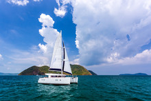Catamaran In Andaman Sea At Phuket, Thailand