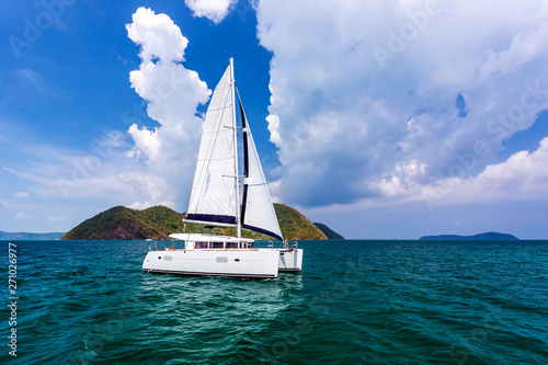 Canvastavla Catamaran in Andaman sea at Phuket, Thailand