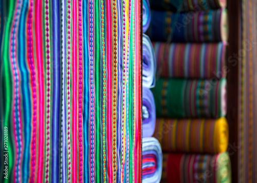 Traditional peruvian fabric in market