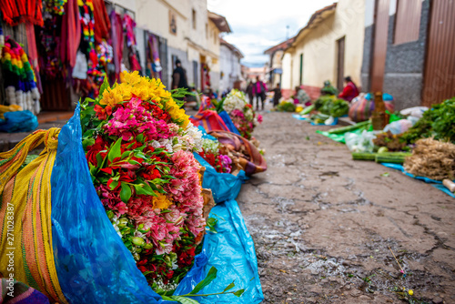 Photo Street flower market in Peru