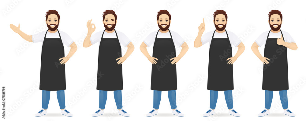 Fototapeta Handsome man in black apron standing with different gestures set isolated vector illustration