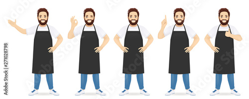 Handsome man in black apron standing with different gestures set isolated vector Canvas Print