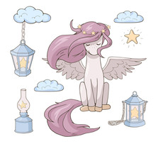 Сute Cartoon Pegasus And Stars In Various Lanterns. Isolated Objects On White Background. Decor Elements For Gift Card And Kids Products. Vector Illustration.