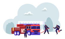 Firemen Team Near Fire Fighter Truck Holding Axe In Hands Spraying Water From Hose, Bringing Water In Bucket Ready To Fight With Blaze. Firefighter Profession, Job. Cartoon Flat Vector Illustration