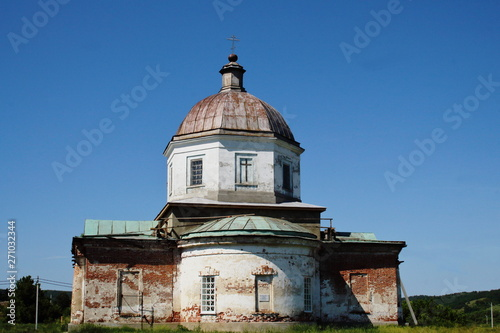 Cathedral of Christ Savior of 19th century on sunny spring day. Restoration. Travel across Russia, Saratov region. Architectural monument.