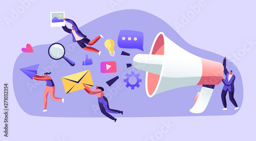 Marketing Team Work with Huge Megaphone, Communication, Alert Advertising, Propaganda, Speech Bubbles and Social Media Icons Fototapet