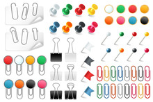 Pins Paper Clips. Push Pins Fasteners Staple Tack Pin Colored Paper Clip Office Organized Announcement, Realistic Vector Set