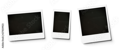 Blank instant photo mockup isolated on white 3D rendering