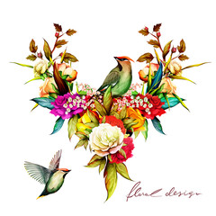 Fototapeta Ptaki Floral illustration with two birds. Roses with tropical leaves and branch. Hand drawn, vector - stock.