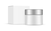 Cosmetic Jar With Metal Cap And Square Box Mockup, Isolated On White Background. Vector Illustration